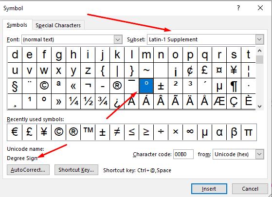 Select Degree Symbols