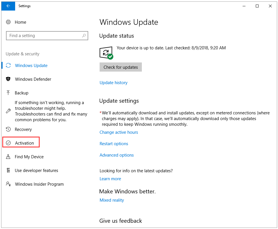 Issue with Activation