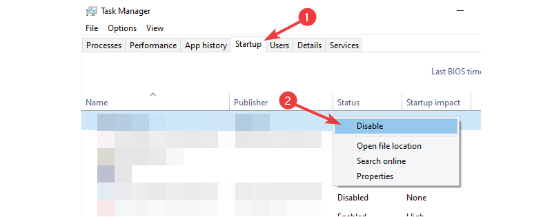 Disable from Task Manager - Stop Avast Browser on Startup