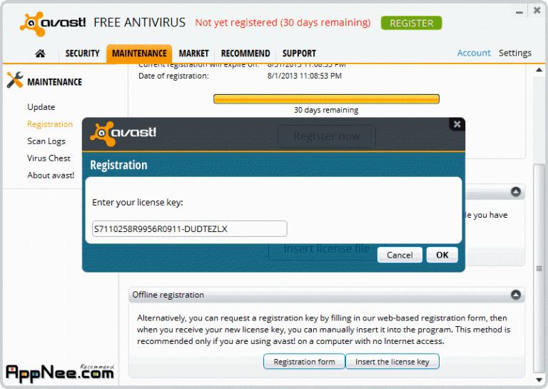 The License key - Avast Free Anitivirus 2016