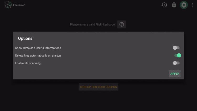 Apply settings