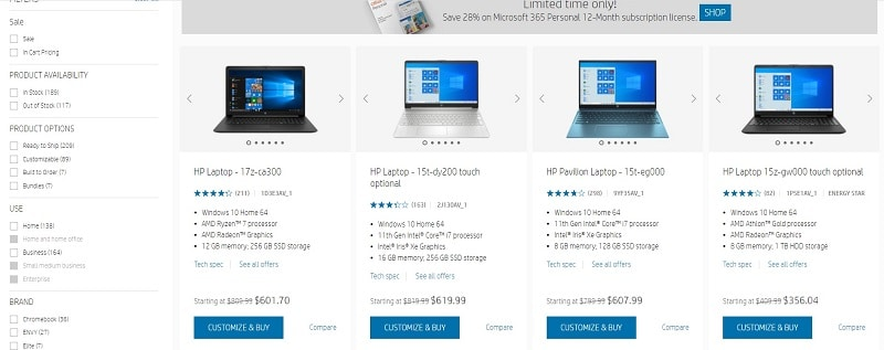 HP pricing Comparison