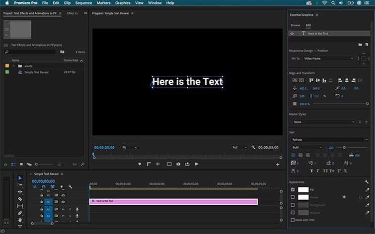 Text Controls - Adobe Premiere Pro CC